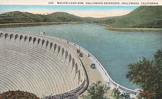 1920s Mulhullond Dam prior to southern face being filled &amp; buttressed with dirt when its sister dam failed