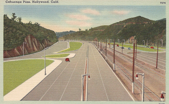 1939 Cahuenga Pass from Pilgrimage Bridge looking north
