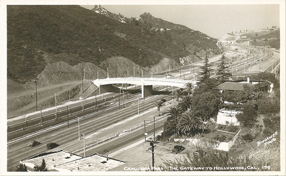1939 Cahuenga Pass - Gateway... Pilgrimage Bridge ramp is still under construction. Looking north.