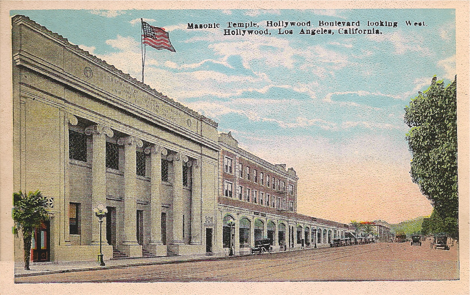 The old Masonic Temple on Hollywood Boulevard, looking west